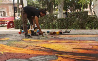 """""""Cuidado con la fantasía"""" Street painting de Abraham Burciaga en el Lerdantino"""